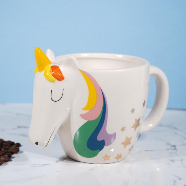 3d Rainbow Unicorn Face Mug