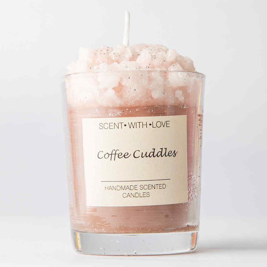 Coffee Cuddles Frosted Glass Candle