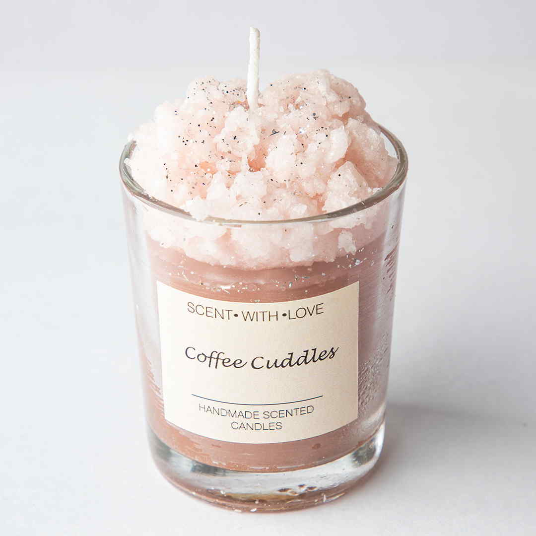 Coffee Cuddles Frosted Glass Candles