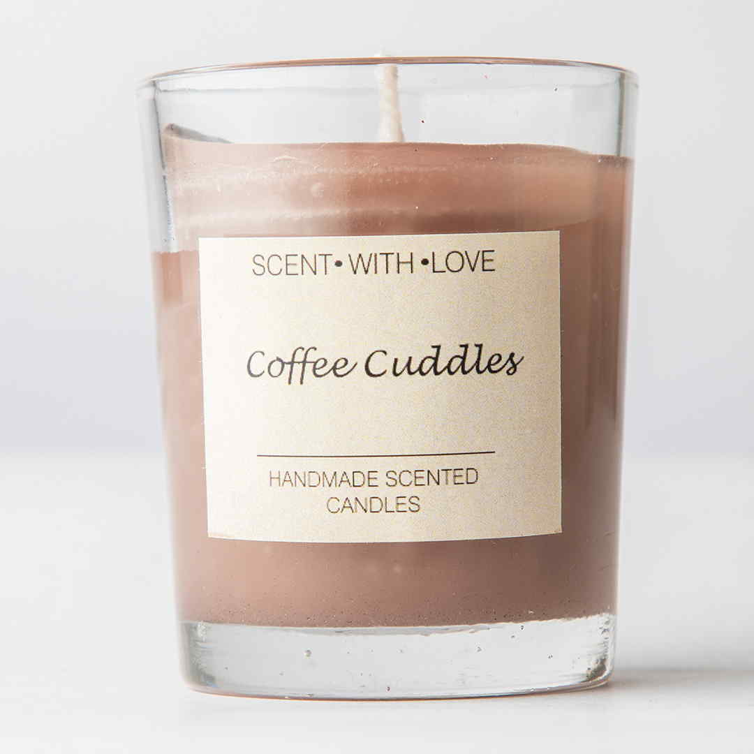 Coffee cuddles small glass candle