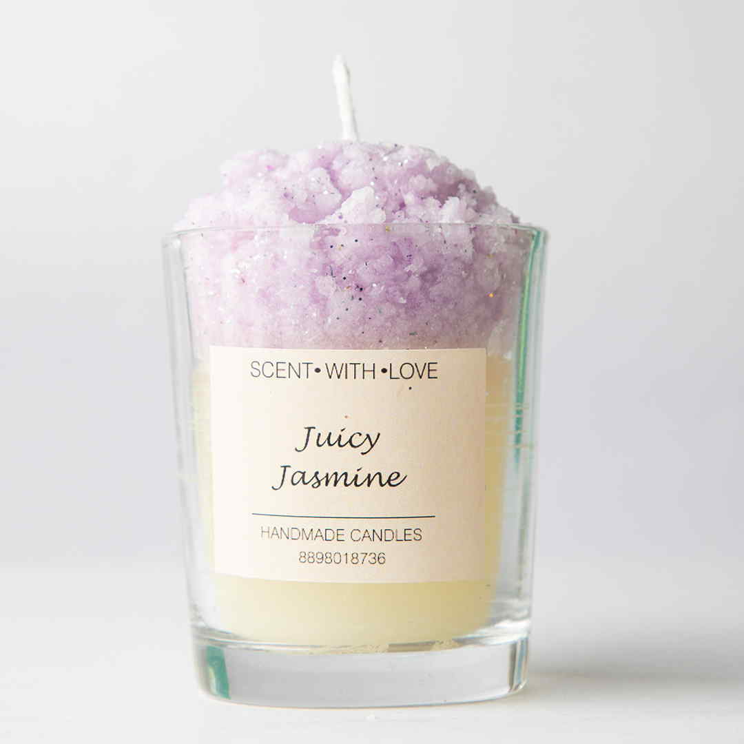Frosted Glass Candle Juicy Jasmine