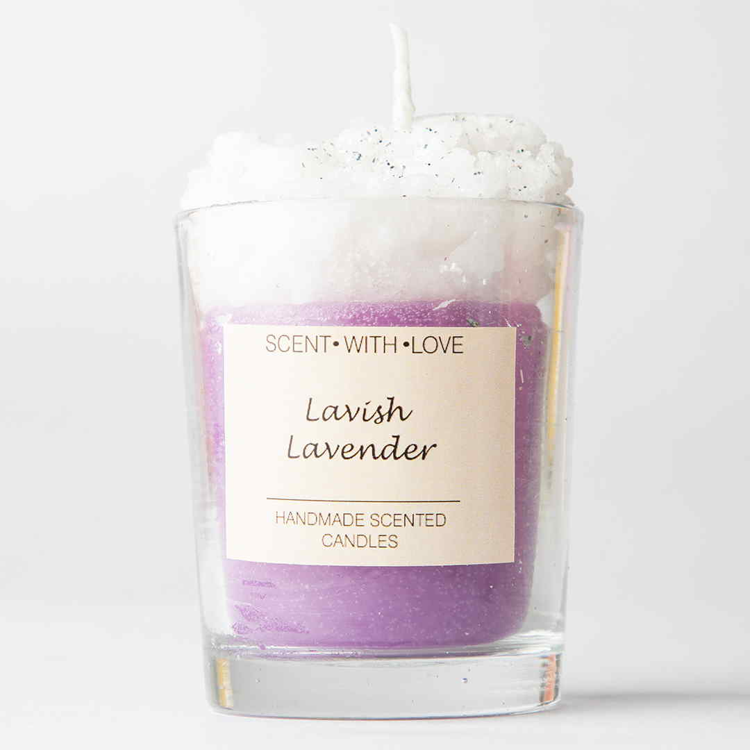 Lavish lavender frosted glass candle