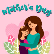 Pink coloured mother's day banner showing the mother hugging her daughter