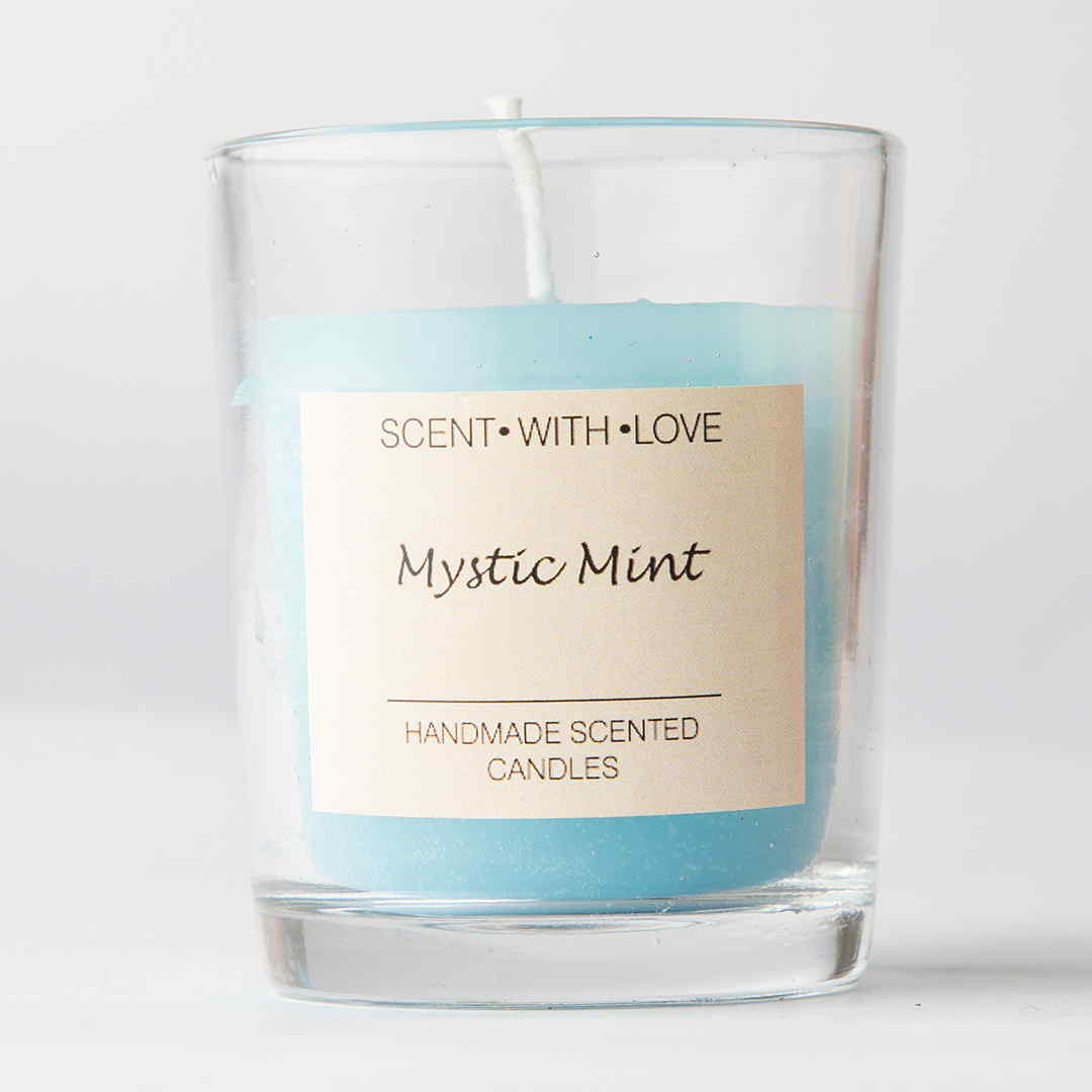 Mystic mint small glass candle