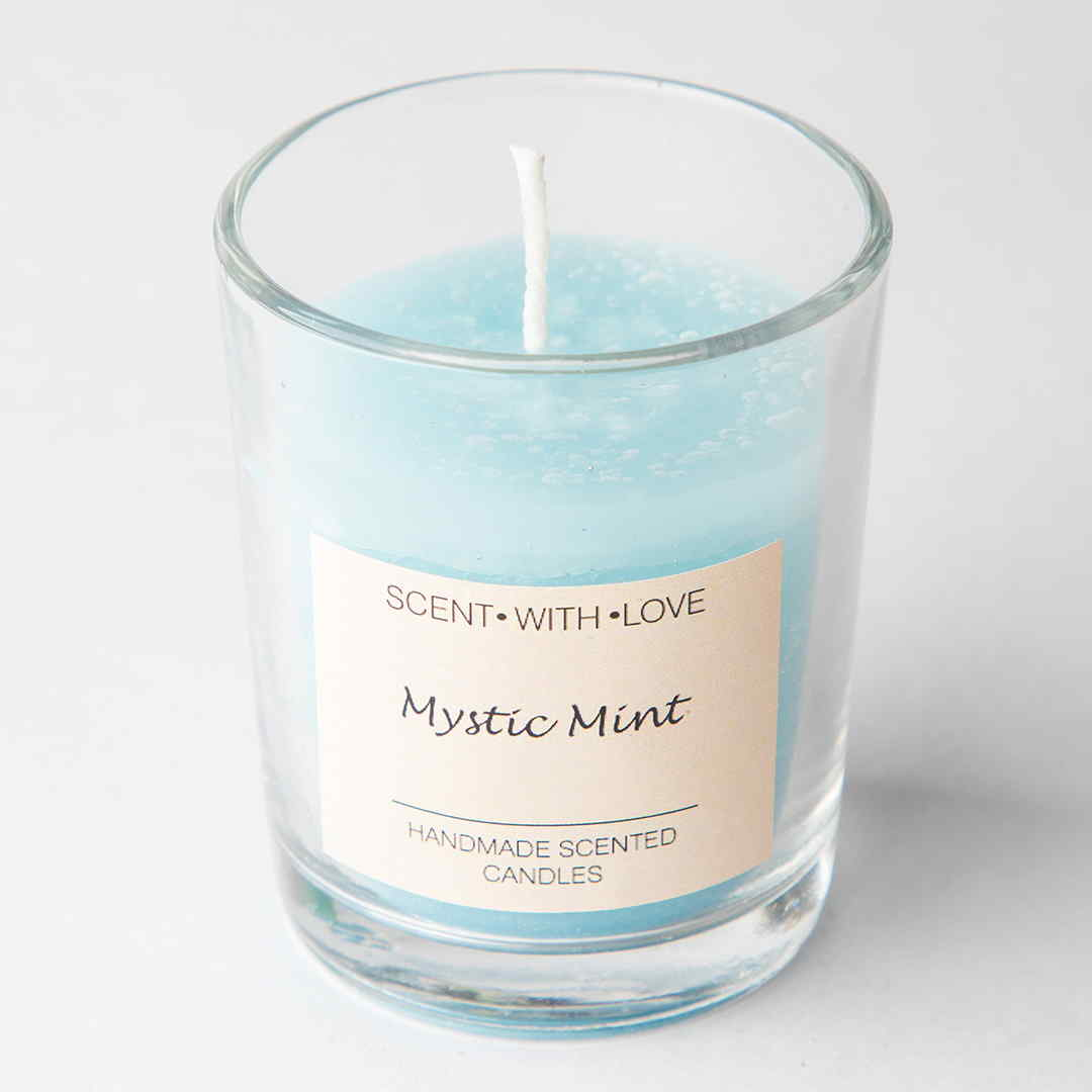 Mystic mint small glass candles
