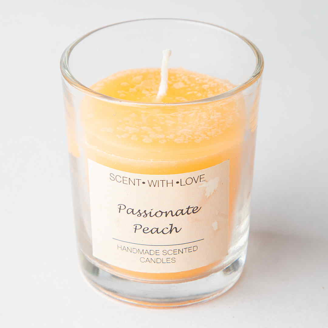 Passionate Peach Small Glass Candles