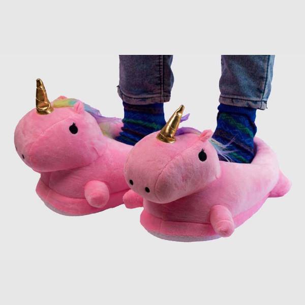 Pink Unicorn plush slippers