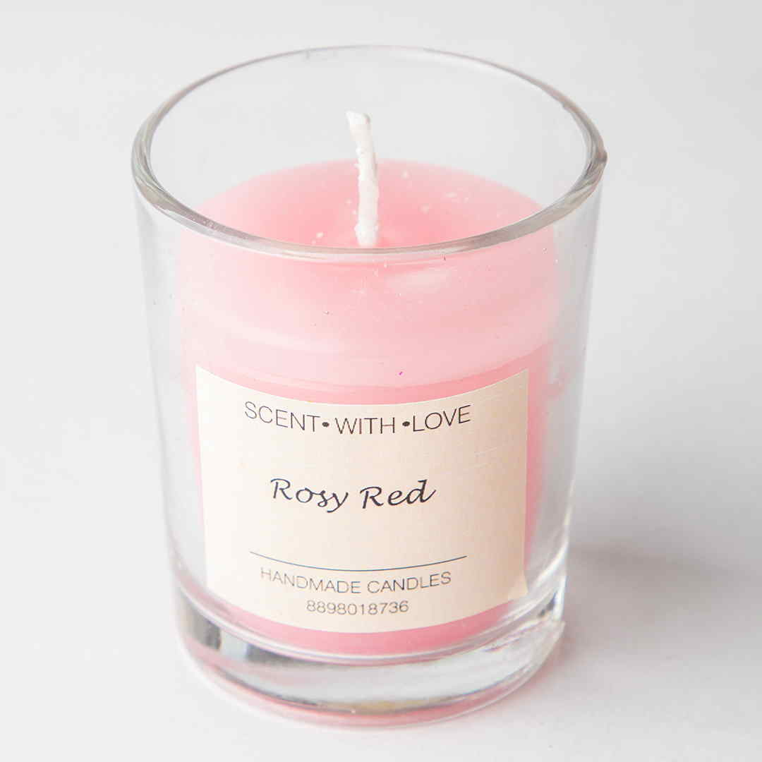 Rosy red small glass candles