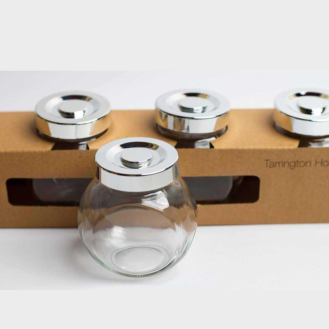 Round Glasses Jar Set Of 4
