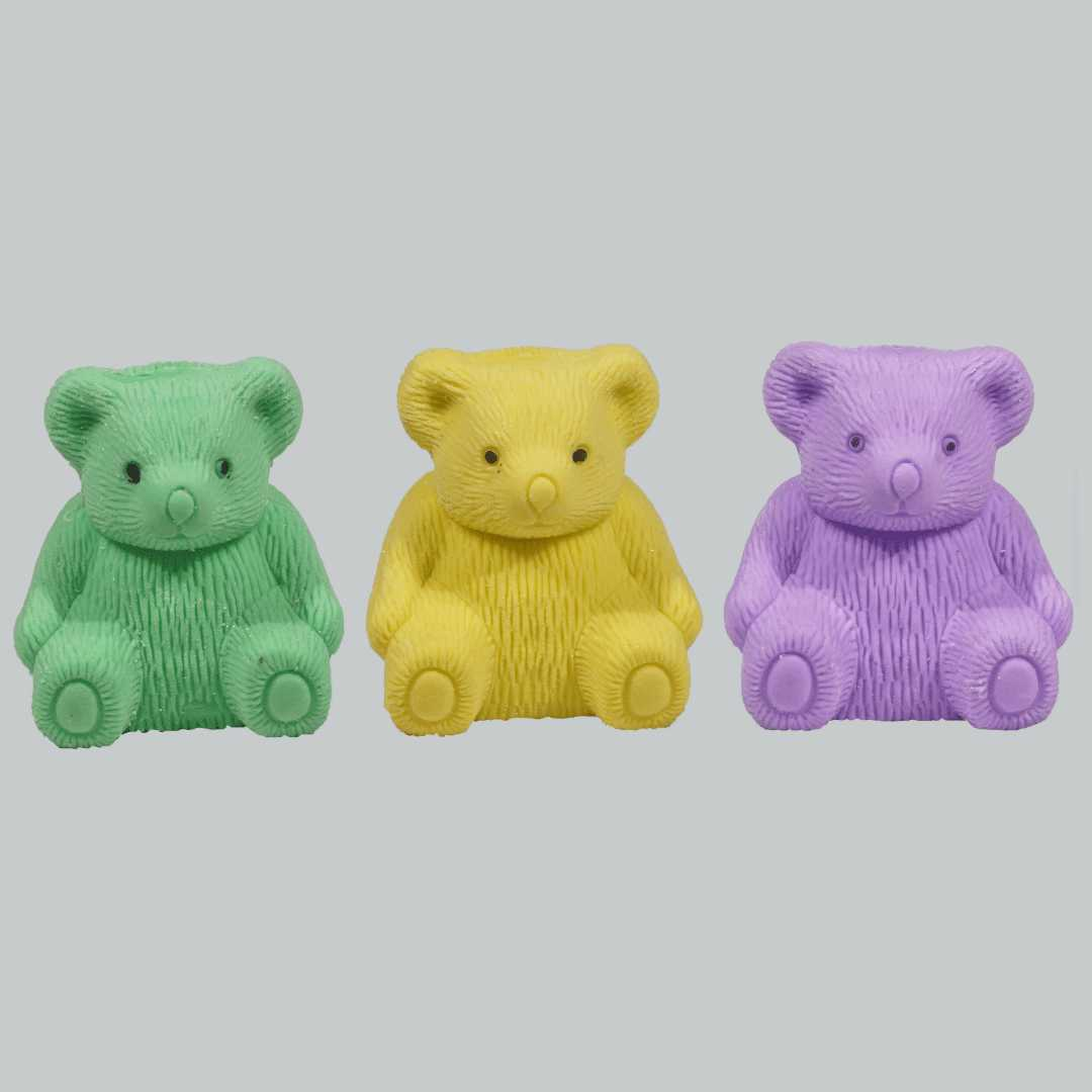 Teddy Erasers with Sharpener for Kids for Daily use Non-Toxic Eraser (Set of 3, Multicolor)