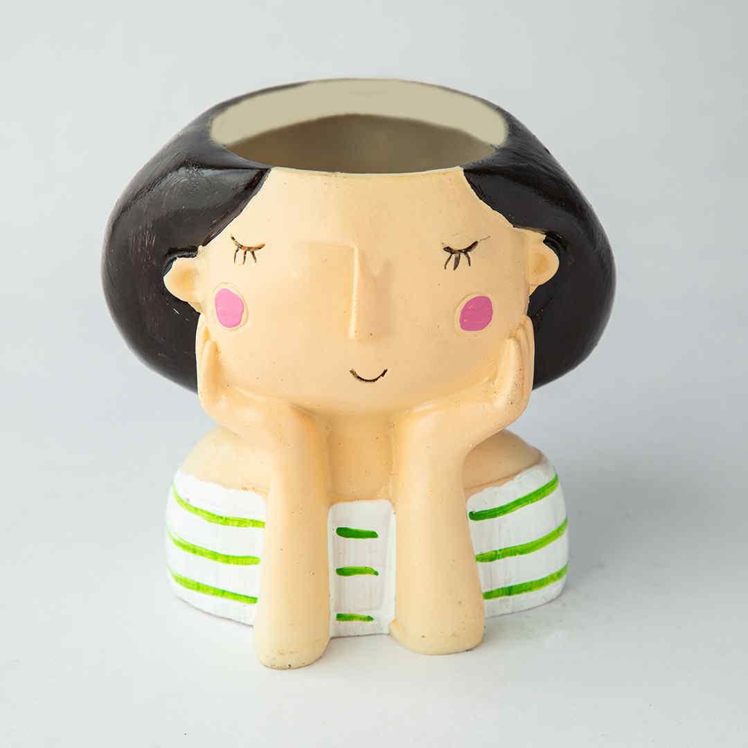 Thinking Girl Succulent Pot