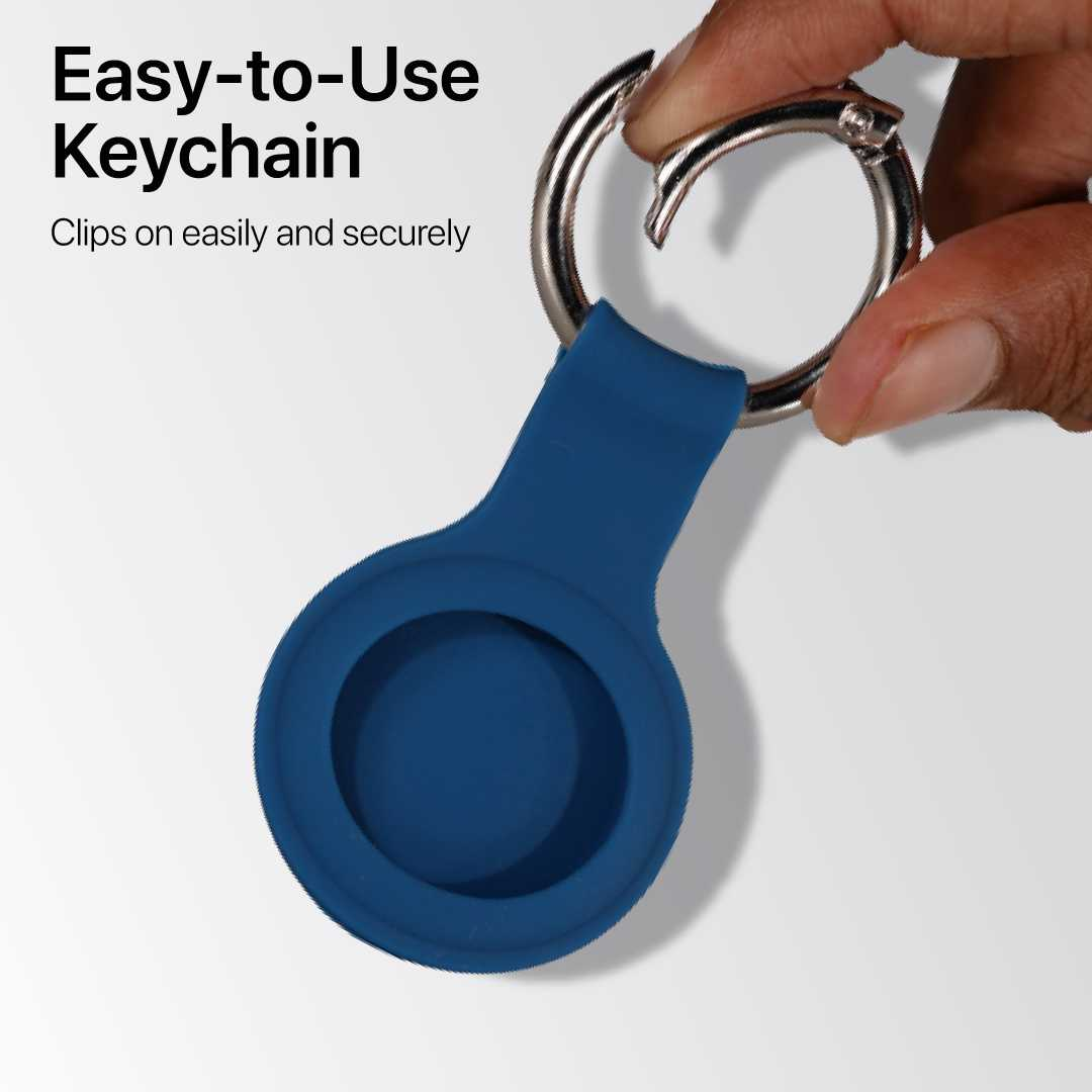 Blue Airtags Keychain Case